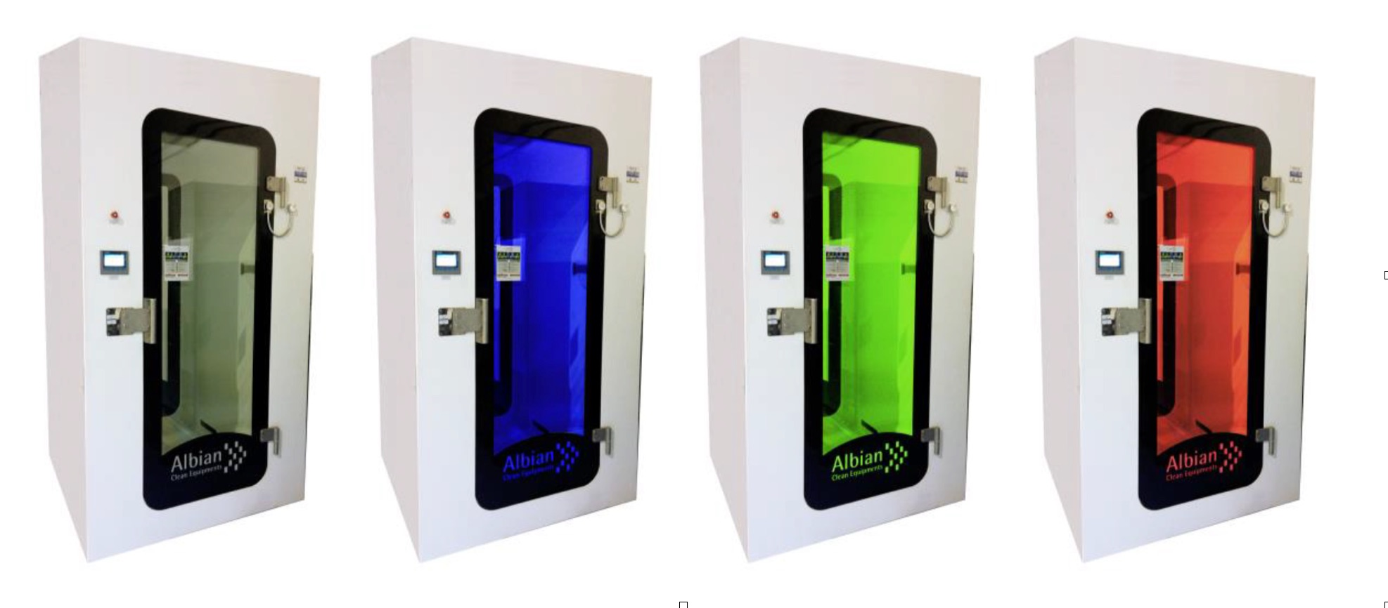 Illustration 2: Par l'intermédiaire une signalétique visuelle (une couleur spécifique pour chaque statuts), la cabine informe et guide son utilisateur tout au long de l'évolution du procédé de décontamination.