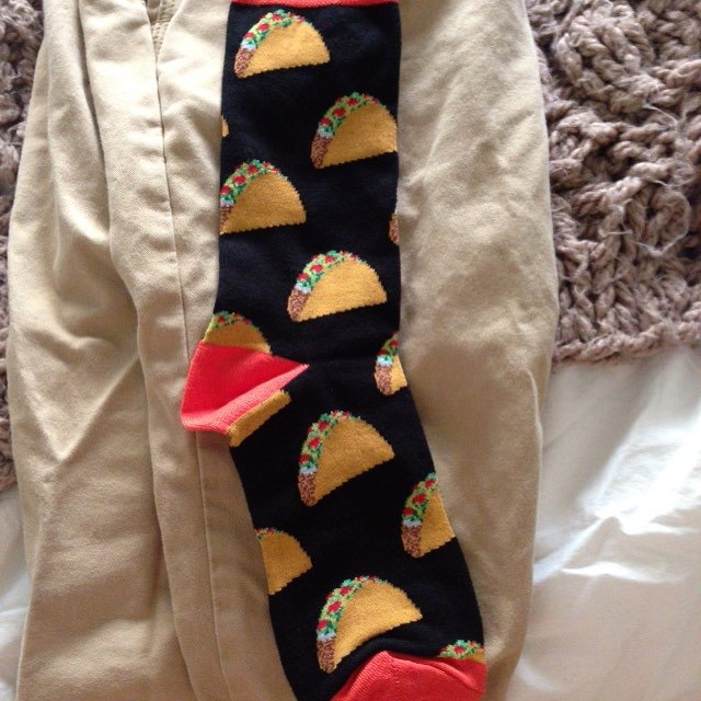 """The theme for this year's birthday is """"Taco Socks""""."""