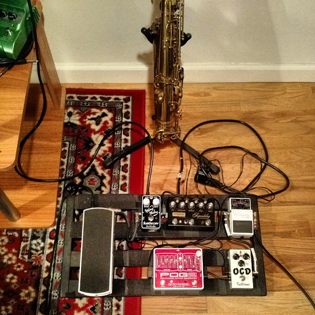 New sax-pedal configuration for recording this week.