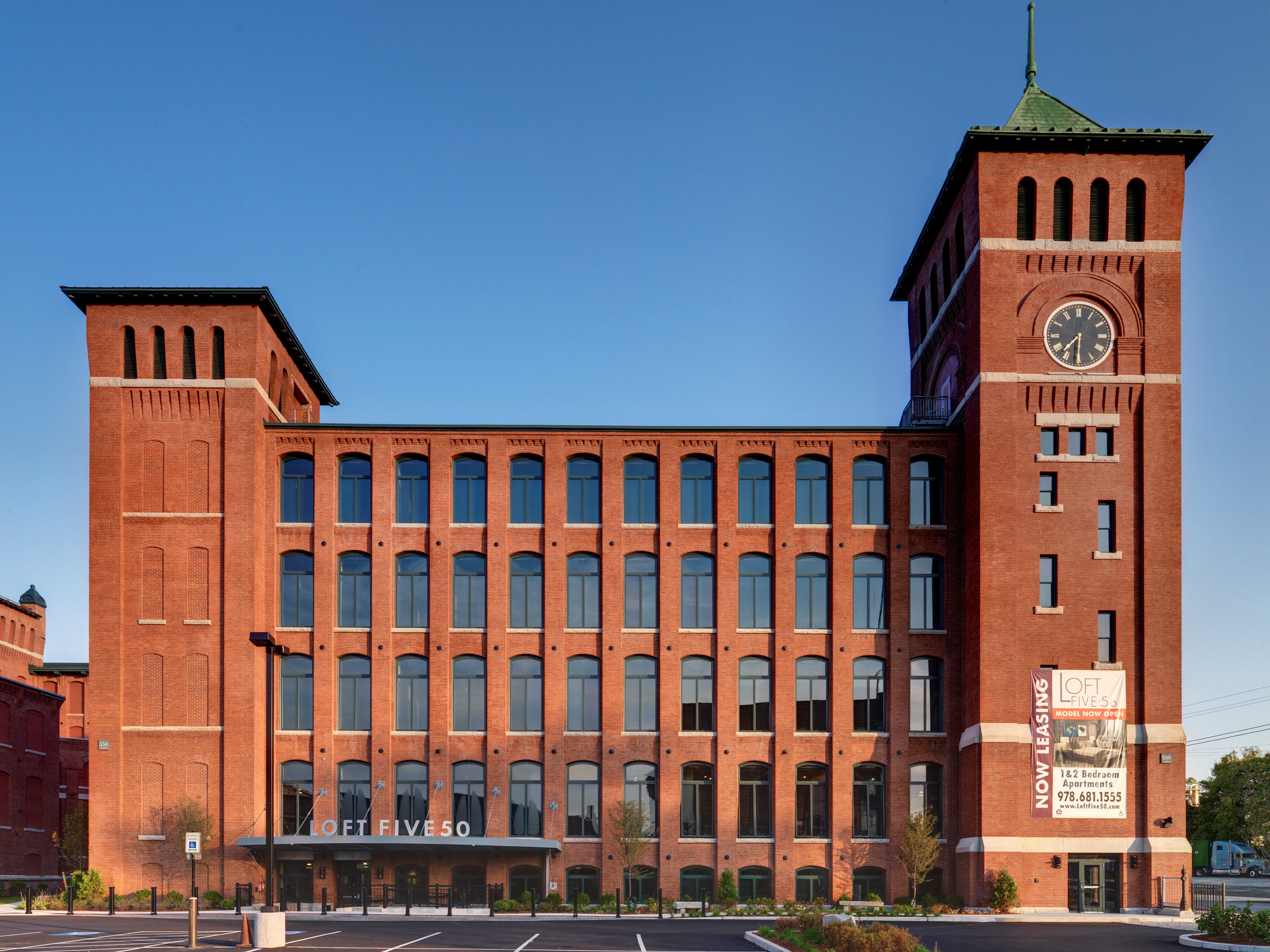 Massachusetts' mill buildings, a legacy of our industrial past, are well-suited for 21st century needs.  Recently renovated Loft Five50, Lawrence, MA   [Loft Five50]