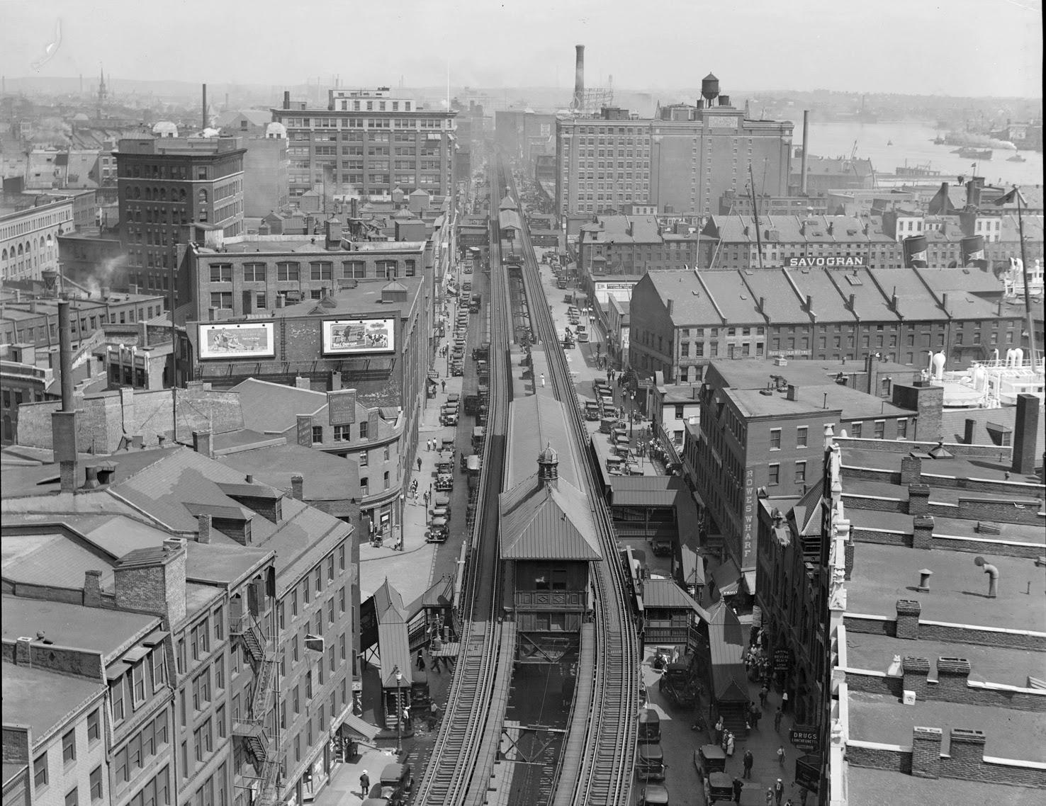 The Atlantic Avenue Elevated railway near Rowe's Wharf, looking north, July 21, 1932  [photo © Leslie Jones via BPL Digital Commonwealth Project]
