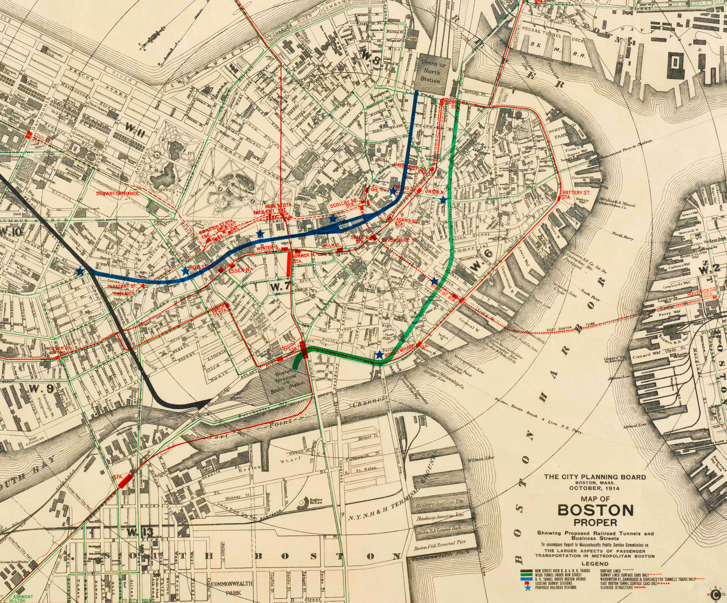 Map of Boston proper, showing proposed railroad tunnels and business streets, October 1914  [Boston Public Library]