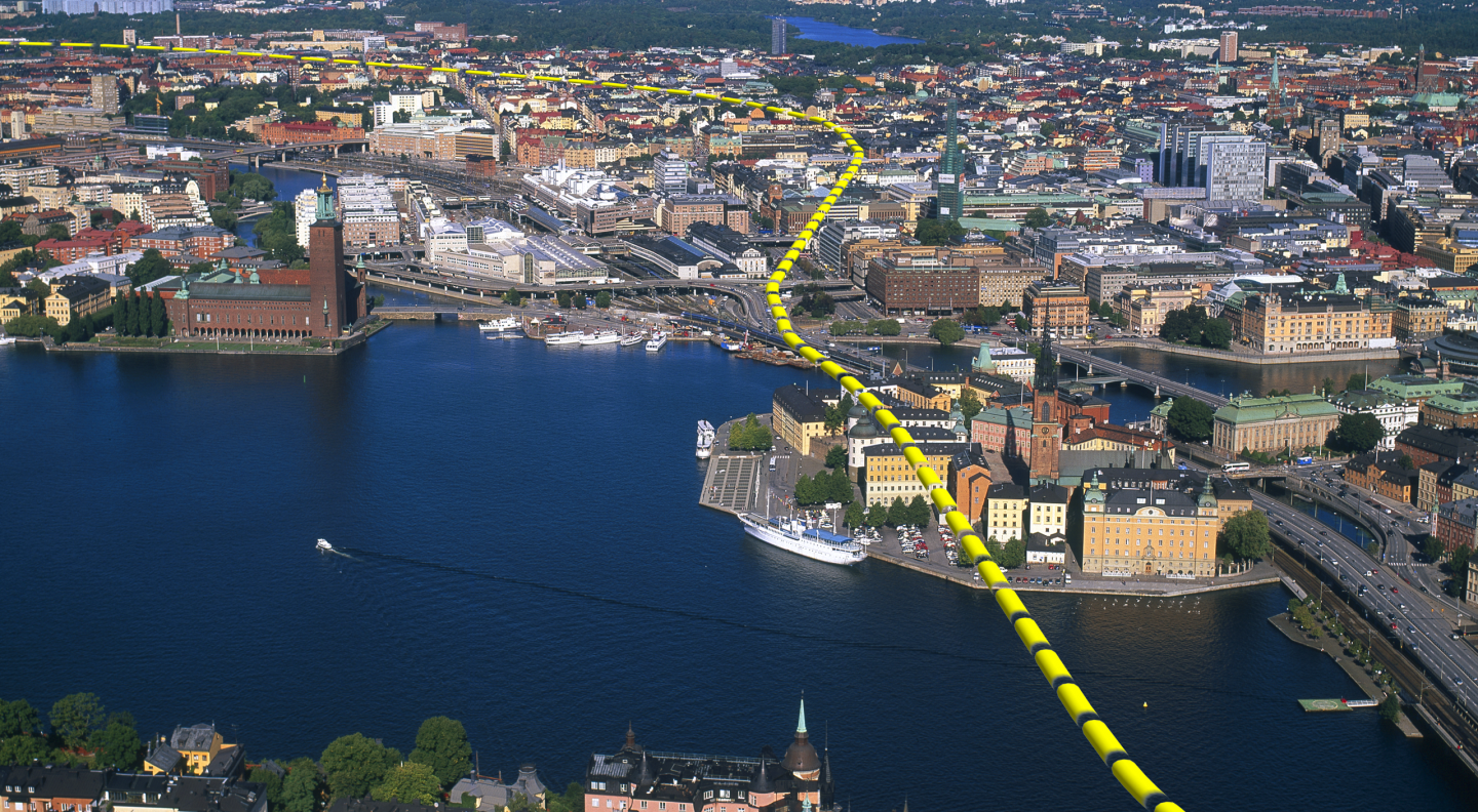 Route of Stockholm City Banan Rail Link   [Illustration © Ahlqvist och Almqvist Arkitekter AB]