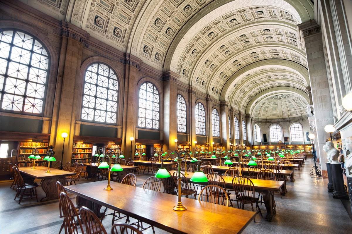 """Bates Hall in the Boston Public Library;                    Normal   0           false   false   false     EN-US   JA   X-NONE                                                                                                                                                                                                                                                                                                                                                                                /* Style Definitions */  table.MsoNormalTable {mso-style-name:""""Table Normal""""; mso-tstyle-rowband-size:0; mso-tstyle-colband-size:0; mso-style-noshow:yes; mso-style-priority:99; mso-style-parent:""""""""; mso-padding-alt:0in 5.4pt 0in 5.4pt; mso-para-margin:0in; mso-para-margin-bottom:.0001pt; mso-pagination:widow-orphan; font-size:10.0pt; font-family:""""Arial"""",""""sans-serif""""; mso-bidi-font-family:""""Times New Roman""""; mso-fareast-language:JA;}    George Ticknor began working to establish a public library in 1826. The legislature endorsed the idea in 1841 and it came to fruition in 1854. The far grander McKim Building, raised by public subscription, opened in 1895.  [© Andrew Marston]"""