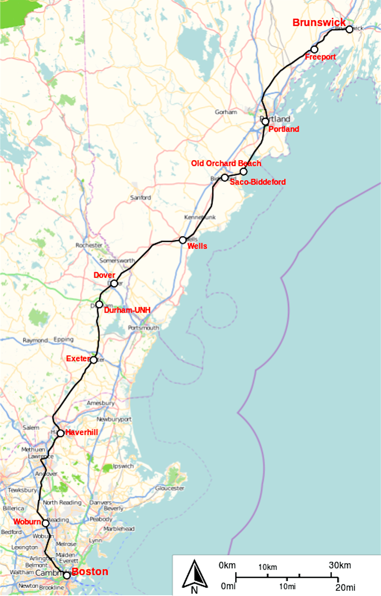 Amtrak's DownEaster service  from Boston to Portland, Maine has grown steadily since its start in 2001, and has been extended north to Brunswick.   [© Open Streetmap]
