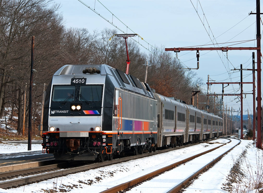 The Bombardier ALP-45DP Dual Mode Locomotive can operate under either diesel or electric power. Here the pantograph is up, to collect power from the catenary. [photo: © Robert Pisani]