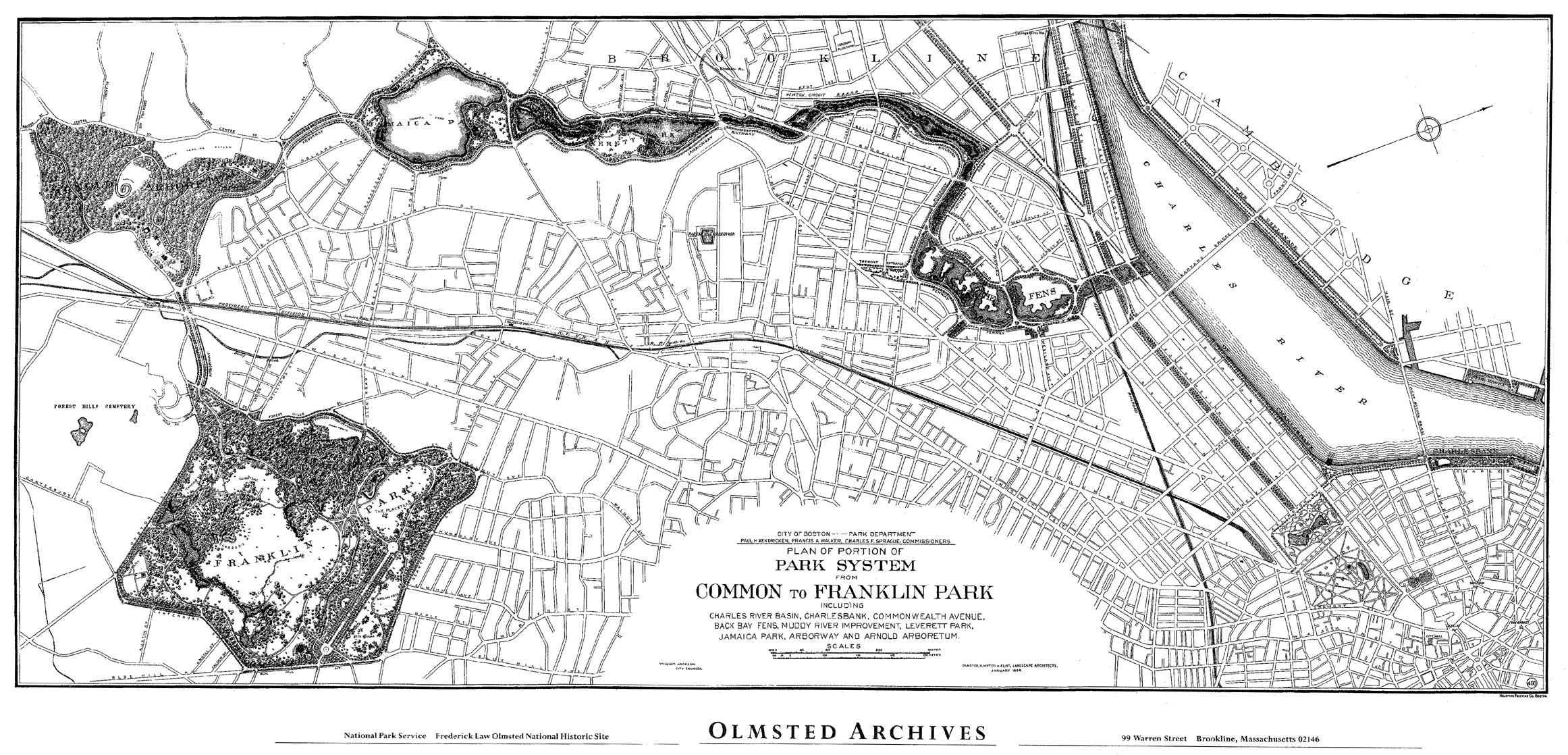 Drawing of the Emerald Necklace park system, from the Common to Franklin Park, January 1914