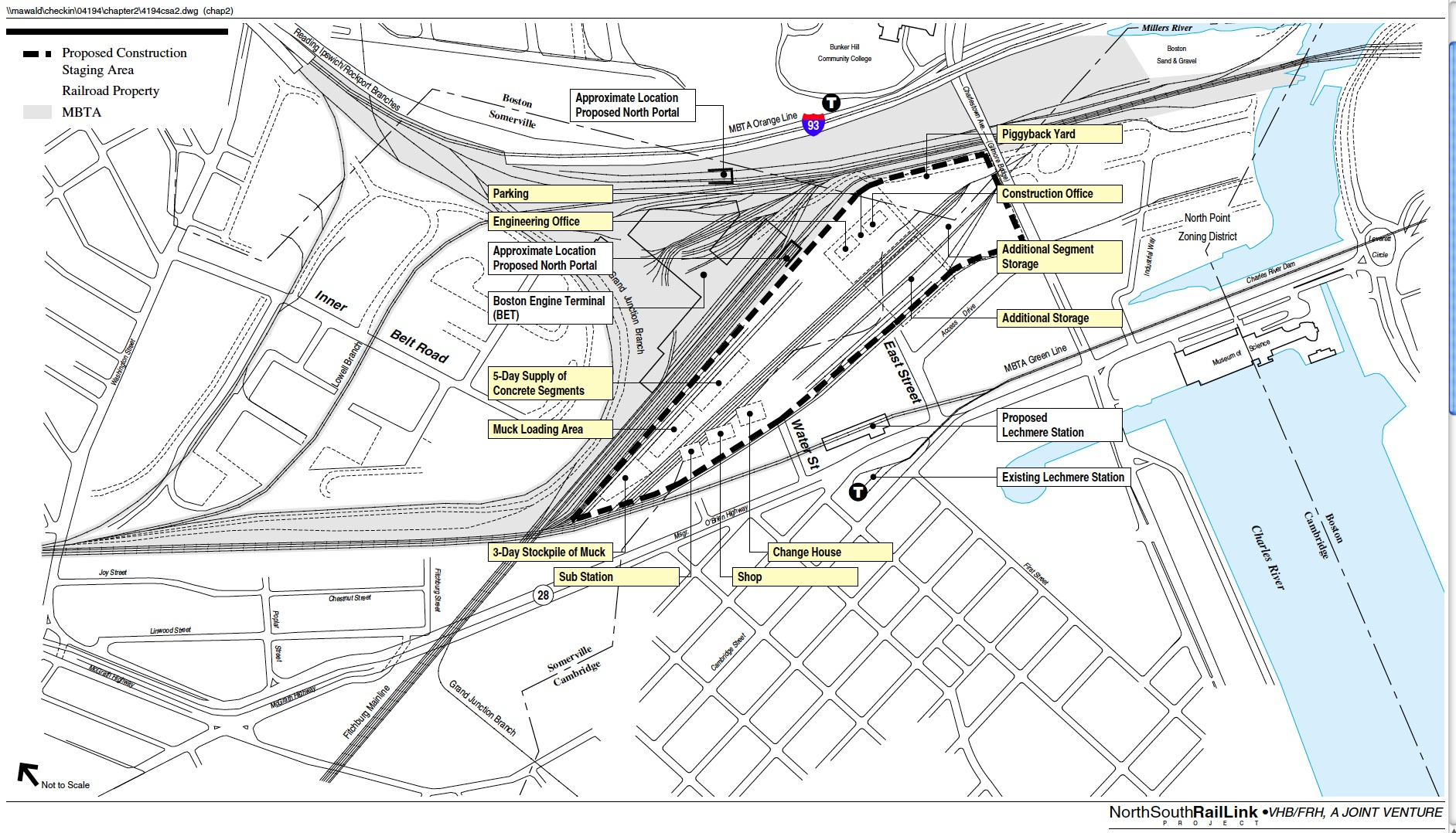 Proposed construction staging area identified in the NSRL DEIR / MIS occupied about half of the recently sold 42 acre parcel. A staging area adjacent to the tunnel portal is needed during the construction period.  [VHB/FRH]