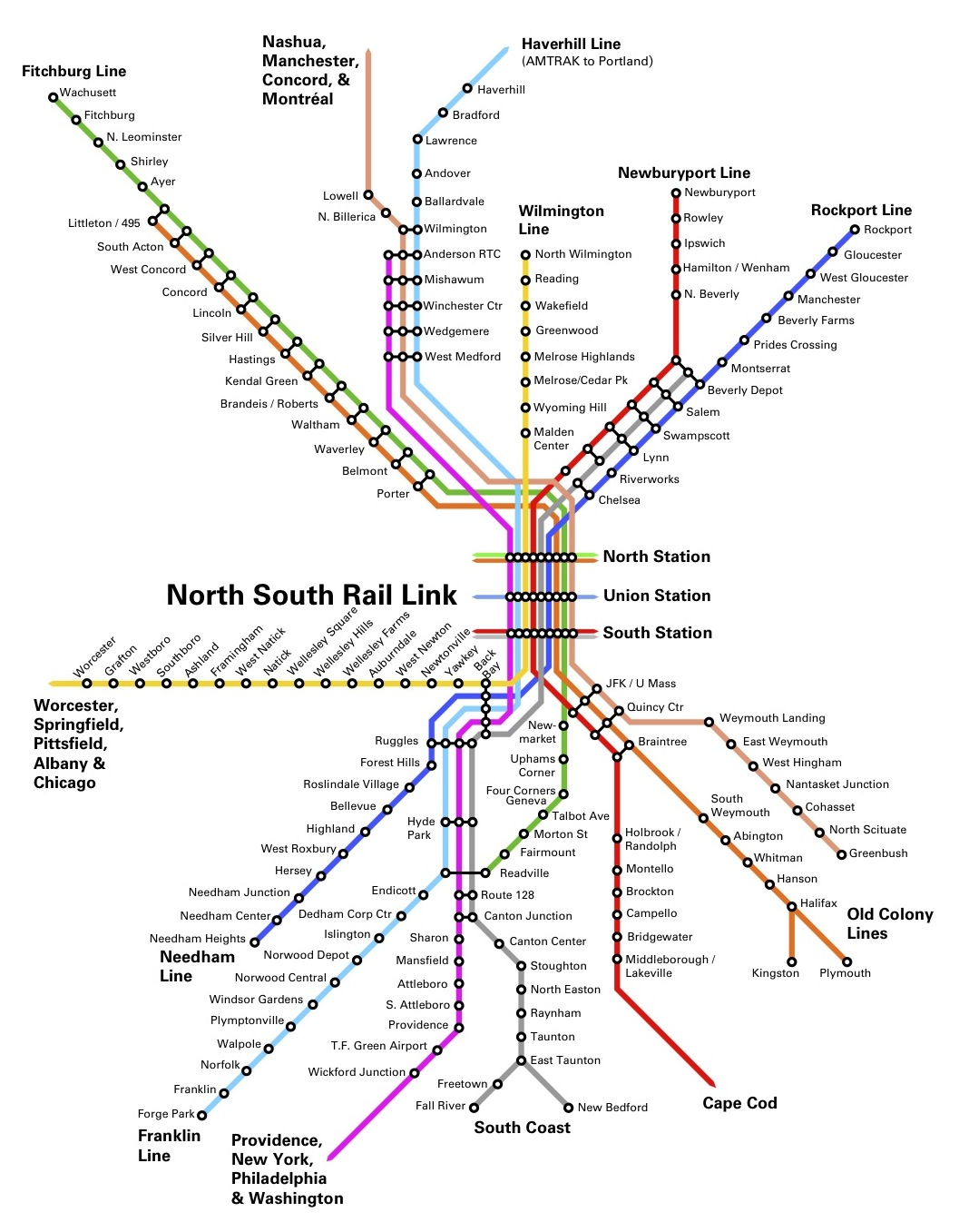 Map of unified system, with all commuter rail and transit lines connected in downtown Boston. [© Brad Bellows Architects]