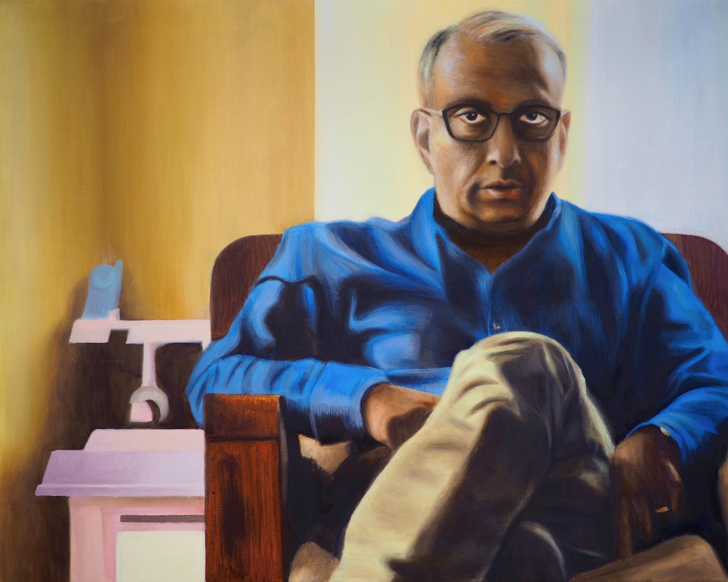 "Pops  by Naomi Basu   Pops  is 36"" x 28"" oil on canvas. The model is the artist's father and is portrayed next to a doll house."