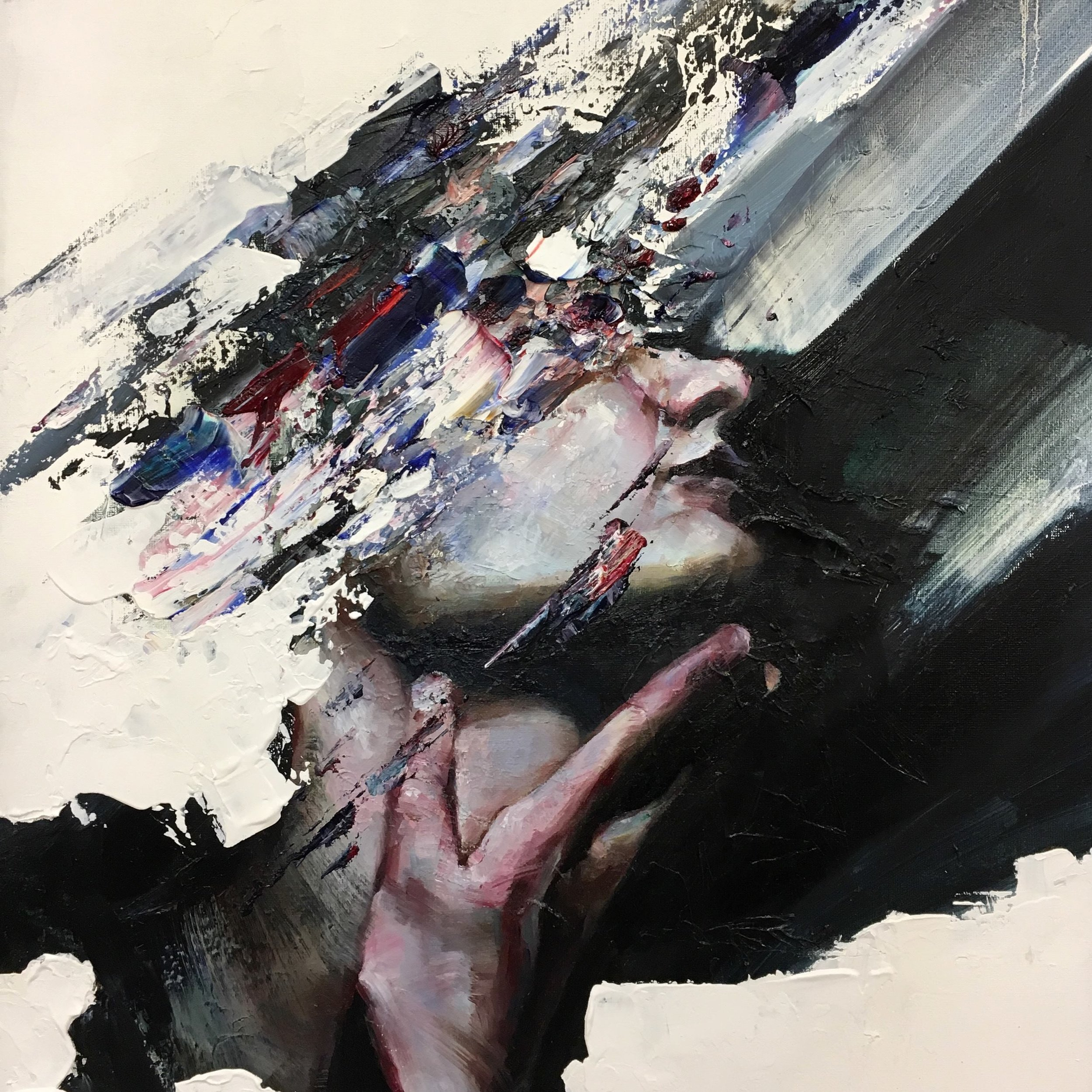 "Swoosh  by Anton Zhou   Swoosh  is 20"" x 16"" oil on canvas and embodies the idea of darkness consuming or tugging at us, in a way that extracts from our body a sense of identity."