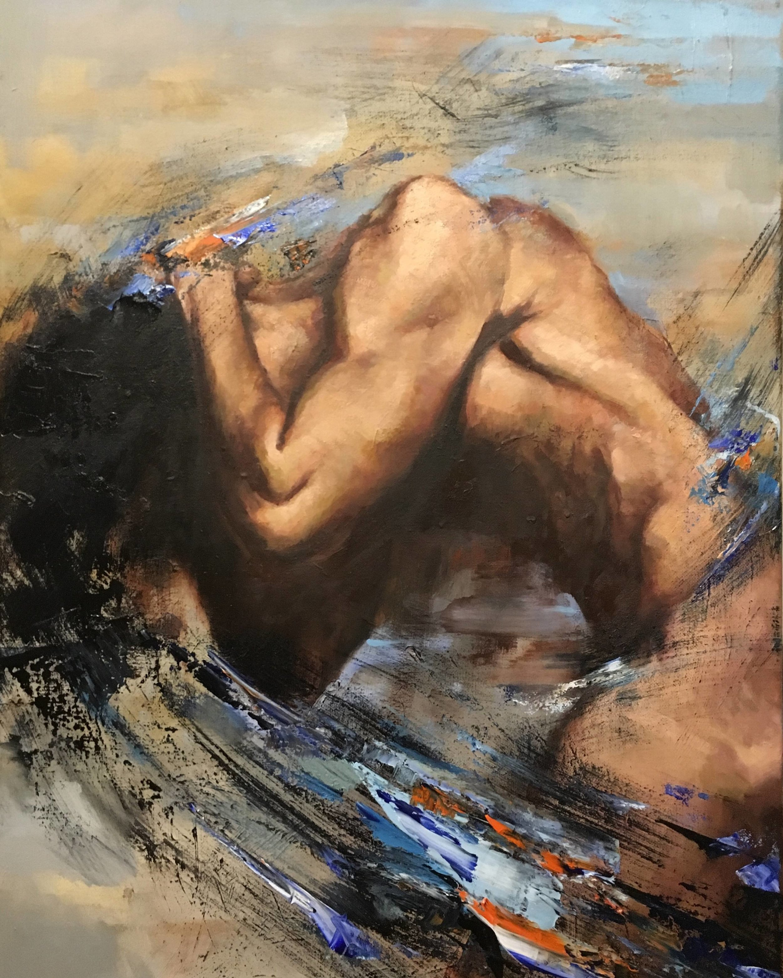 "Lose Yourself  by Anton Zhou   Lose Yourself  is 24"" x 18"" oil on canvas and is a message on human fragility and swirling emotions; figure study."