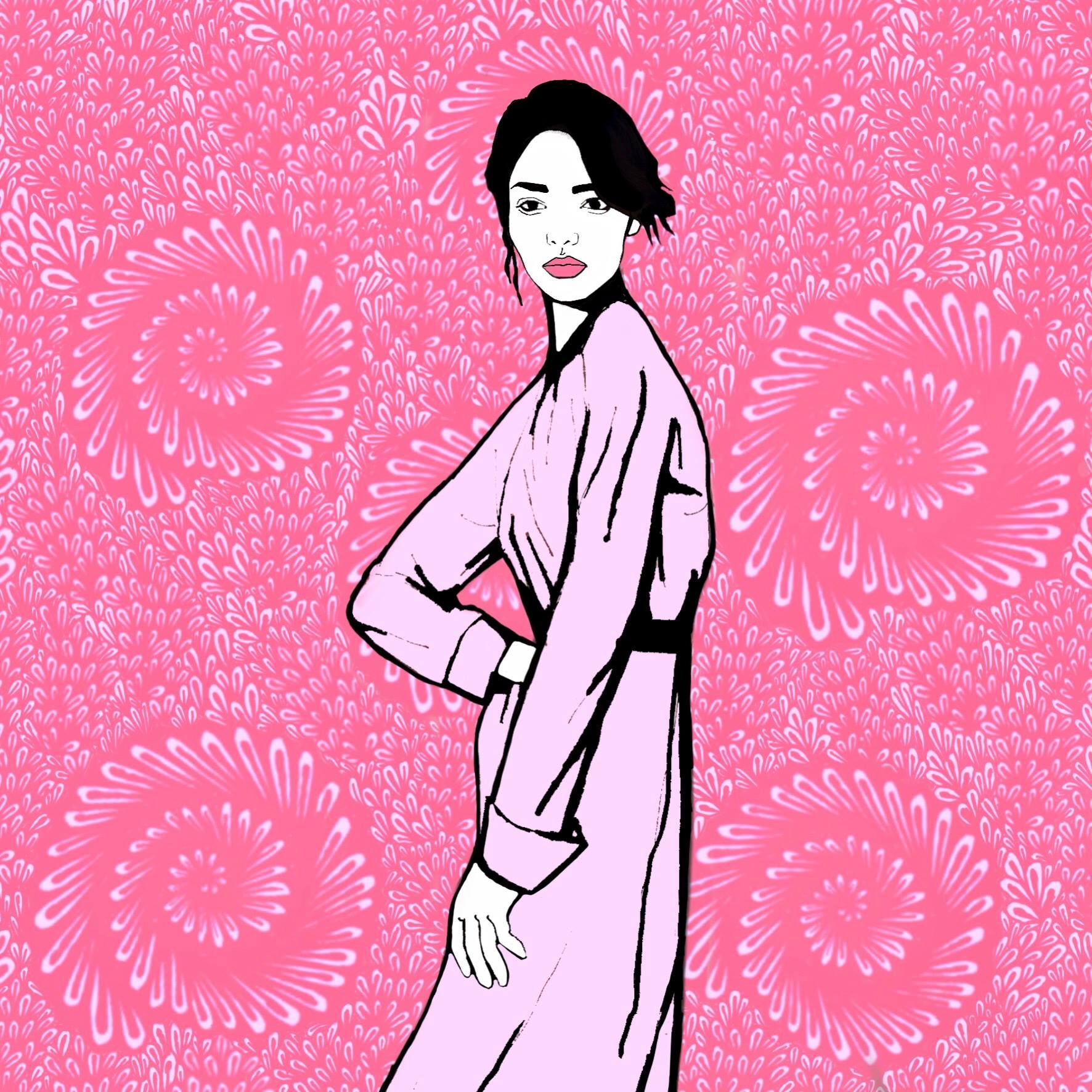 "Pink  by Sadie Kramer   Pink  is digitally drawn with background ""doodles"" first and then overlaid with the girl."