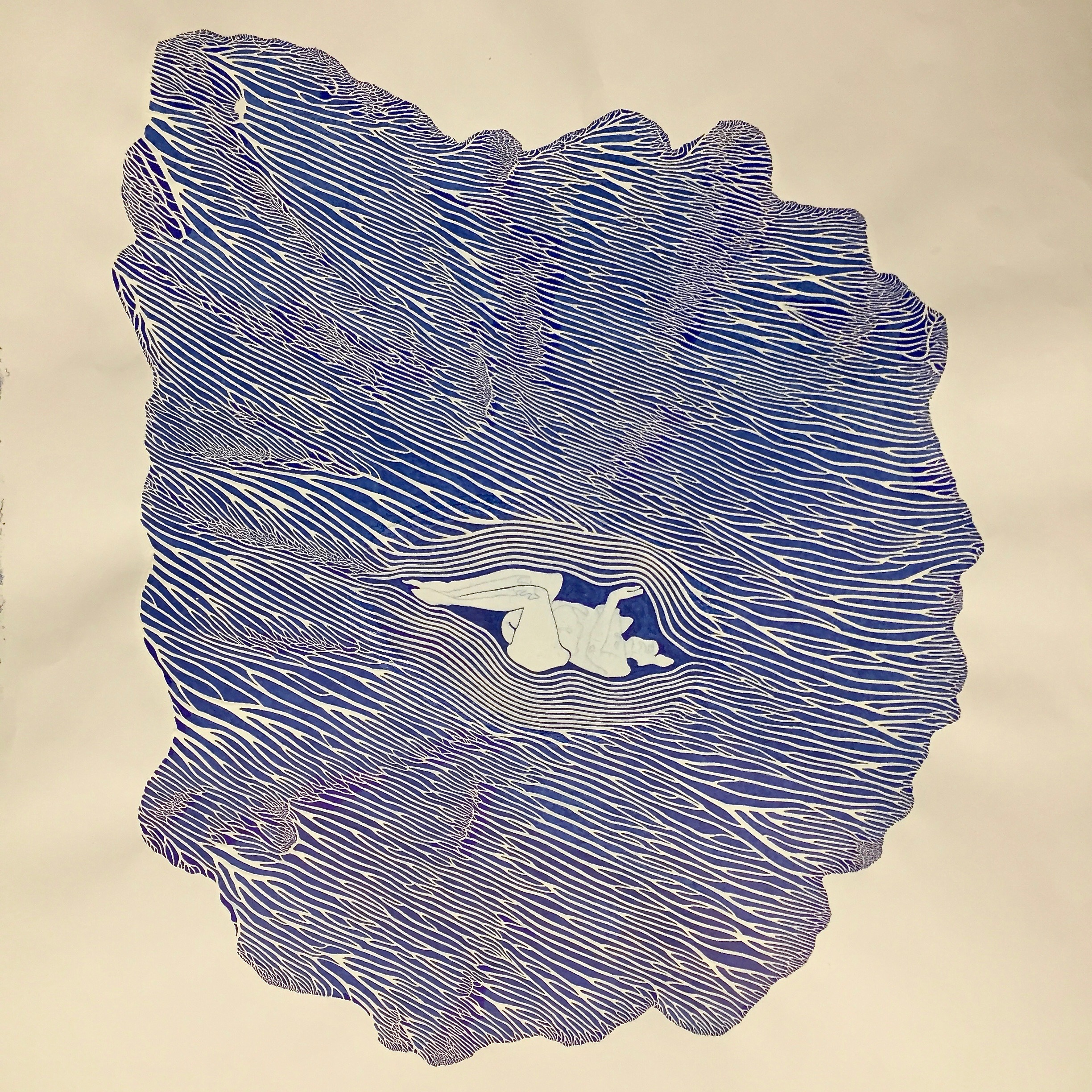 Untitled  by Ethan Barretto   Untitled  is blue ink and gesso.   This piece was first published in Quarto's Spring 2018 edition.