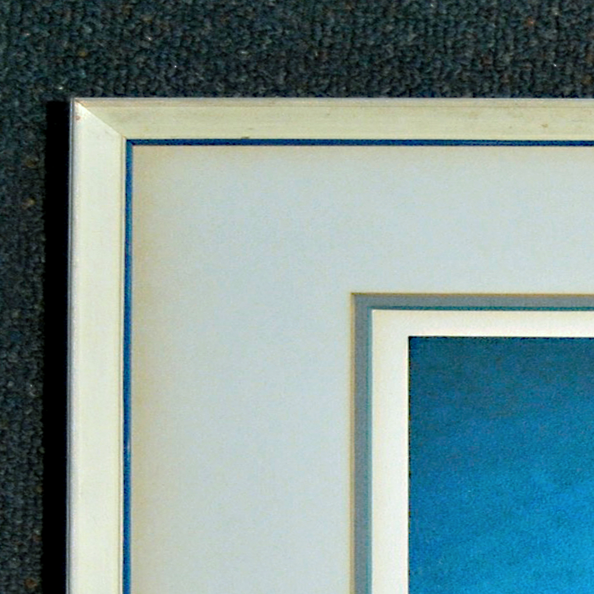 This detail shows the yellowing of the grey mat next to the frame, plus the second mat had started to turn green from it's original blue shade.