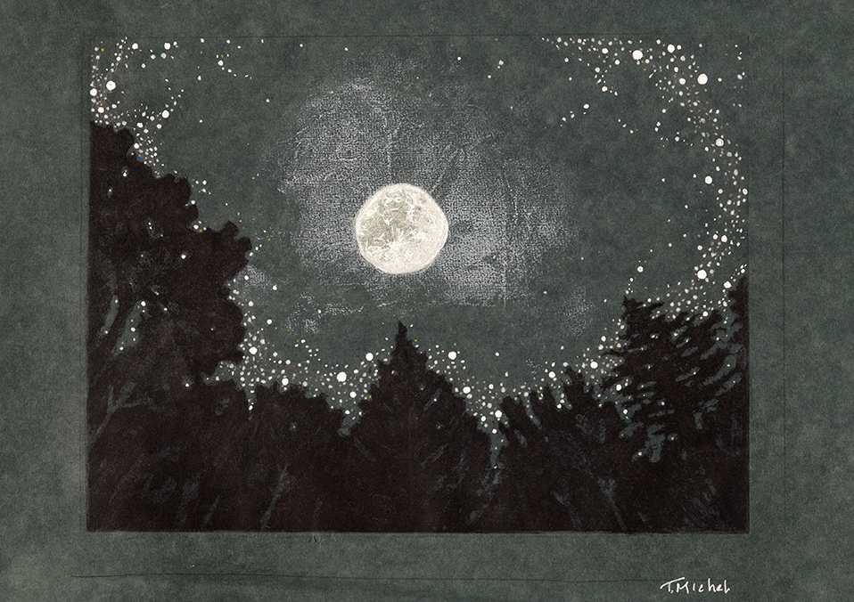 Constellations, Moon and Trees #1
