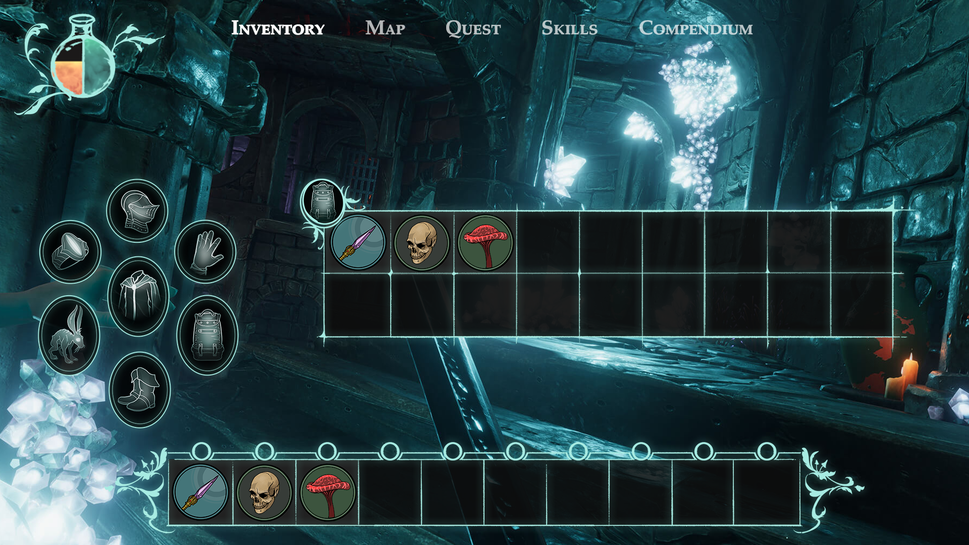 Underworld Ascendant | Otherside Entertainment.    Inventory and player status.