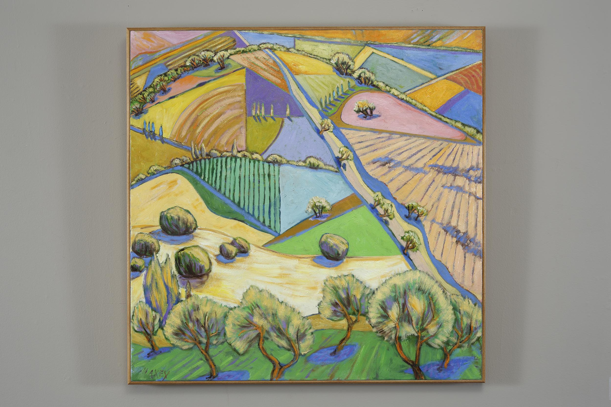 Fields below Orvieto, oil on canvas 30 x 30