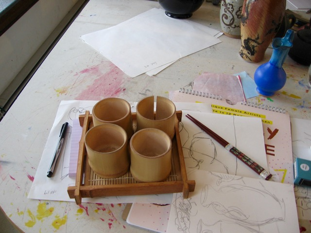"Studio shot of ""Old Bamboo Cups"", see Still Life series, under Paintings."