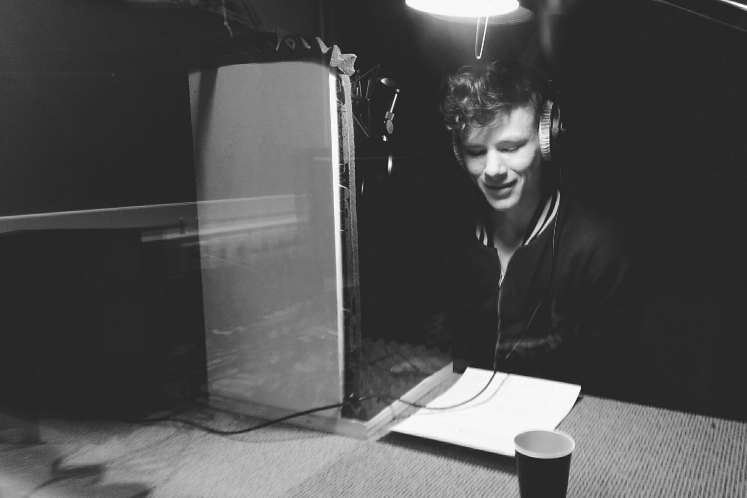 Chris recording the voice over