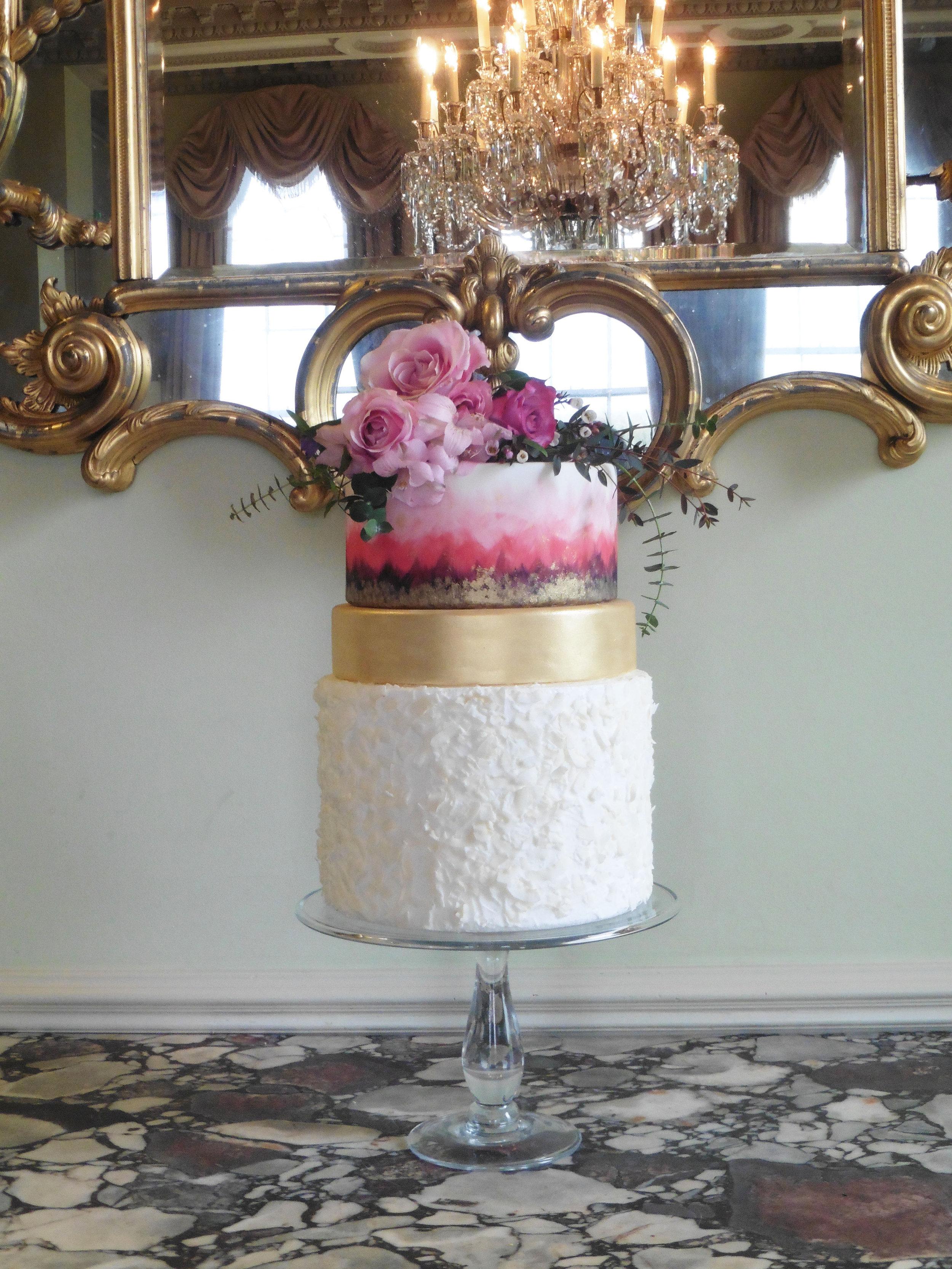 Hand-painted wedding cake