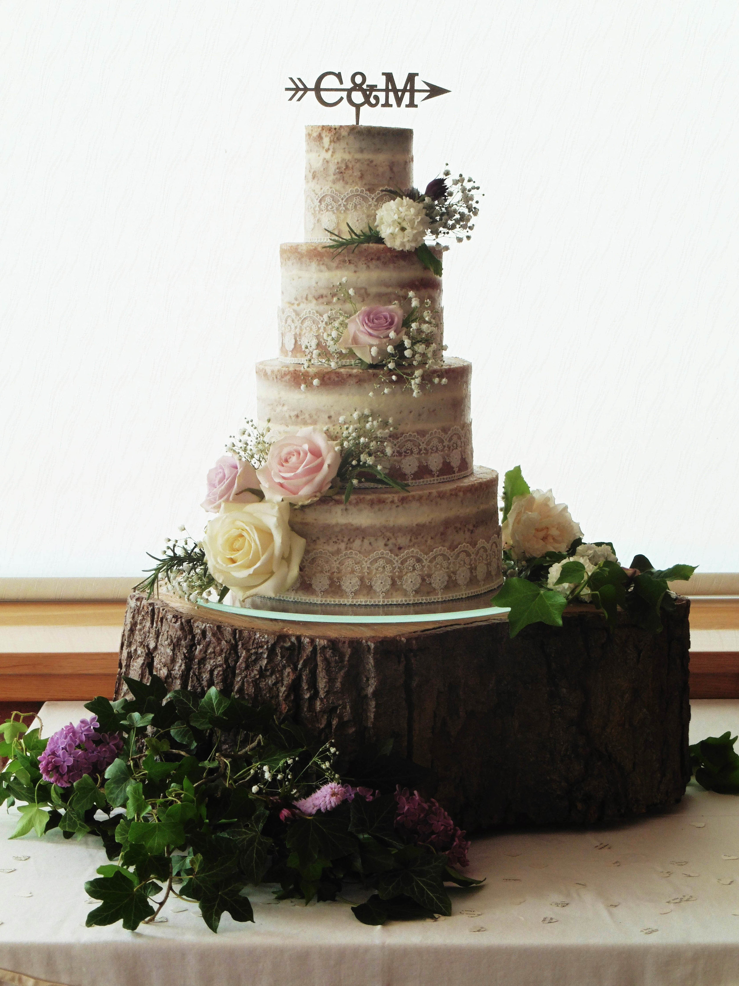 Semi-naked cake with edible lace