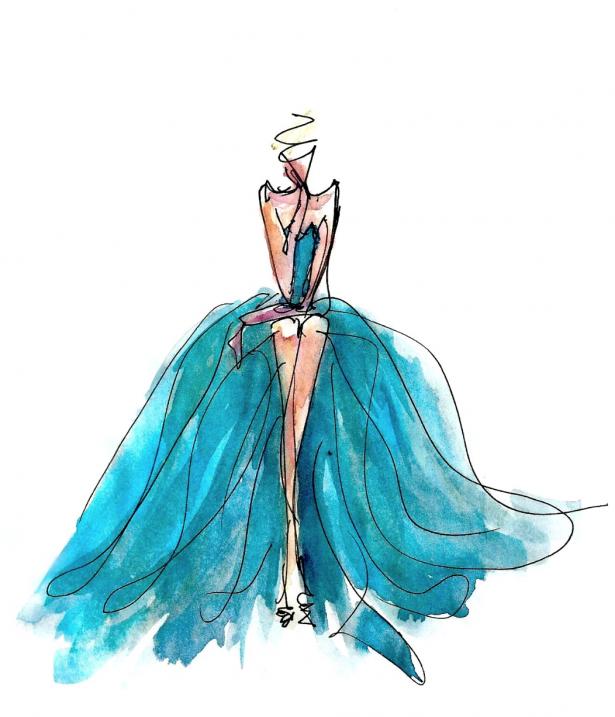 midnight doodles- aqua gown
