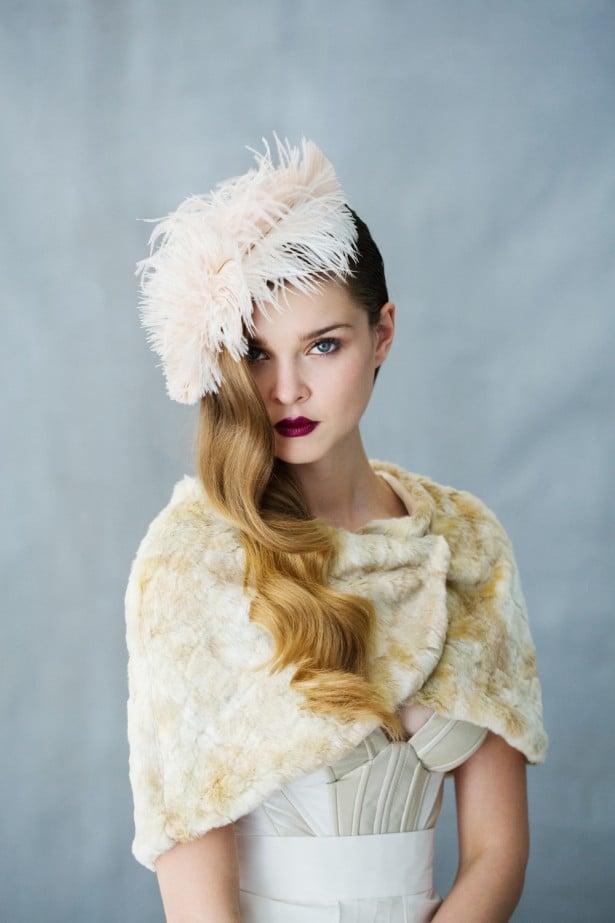 Antioinette headpiece - Faux fur bridal shrugs