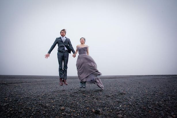 Custom Carol Hannah Grand Palais gray wedding gown