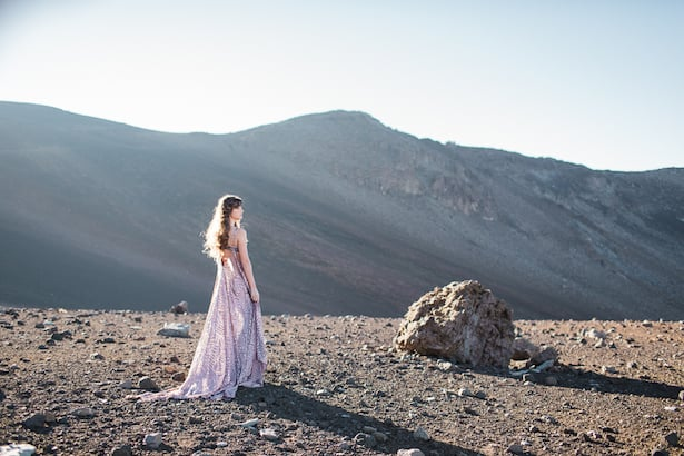 Tanzanite gown Real Wedding Inspiration with Sealight Studios