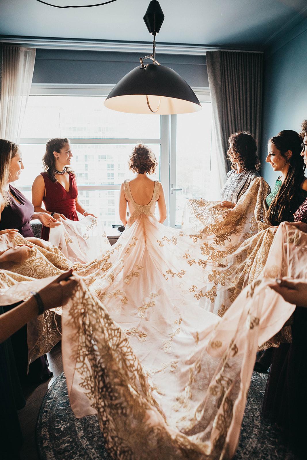 Blush, rose, gold wedding gown with butterflies, victorian bridal trend, nyc wedding gown designer06.jpg