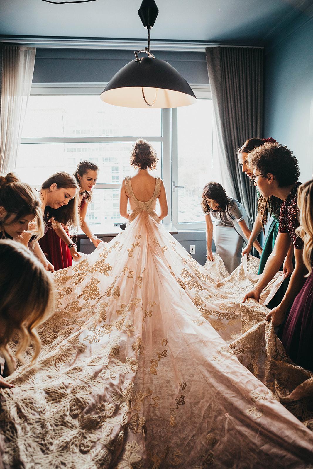 Blush, rose, gold wedding gown with butterflies, victorian bridal trend, nyc wedding gown designer09.jpg