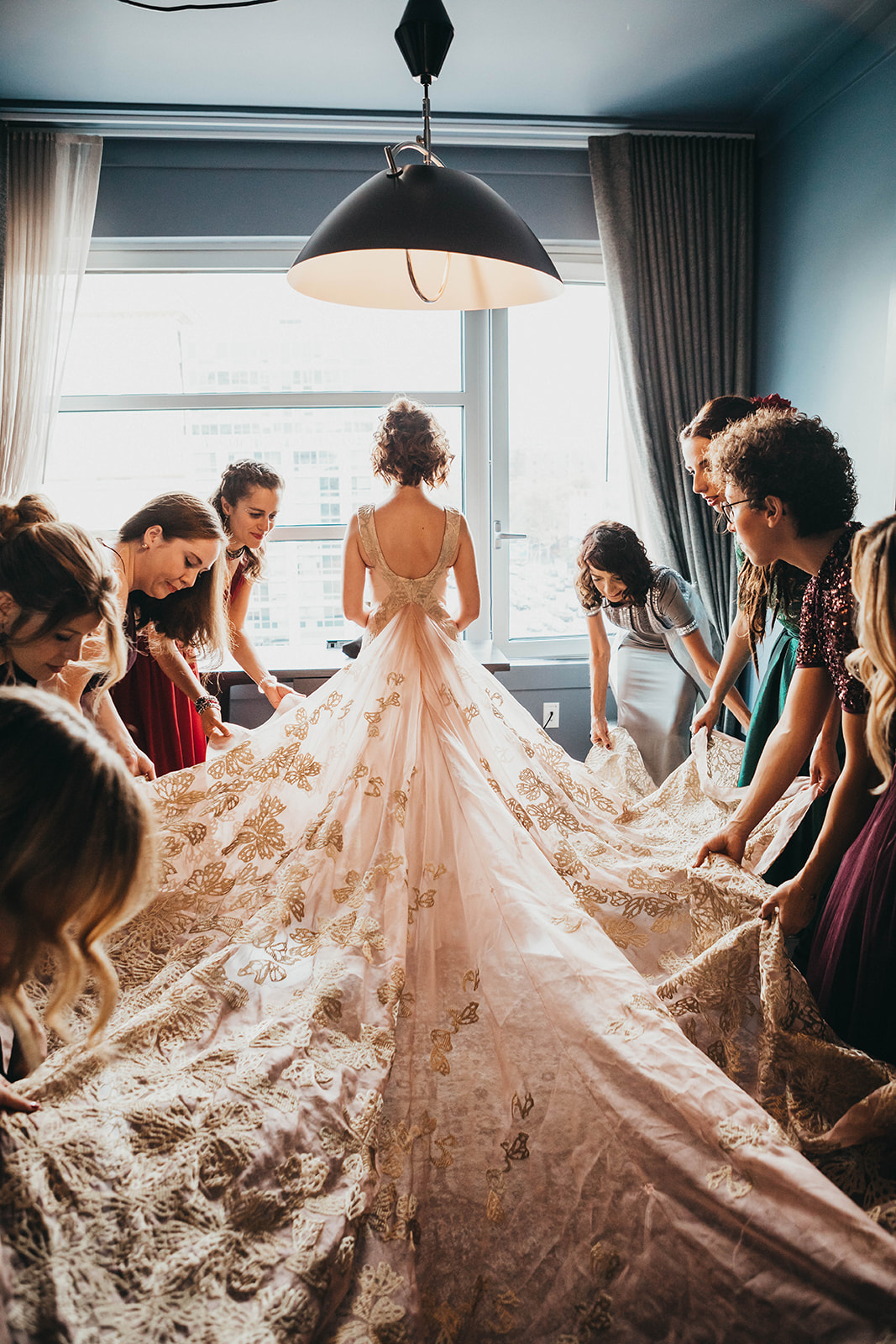 bride gold wedding dresses