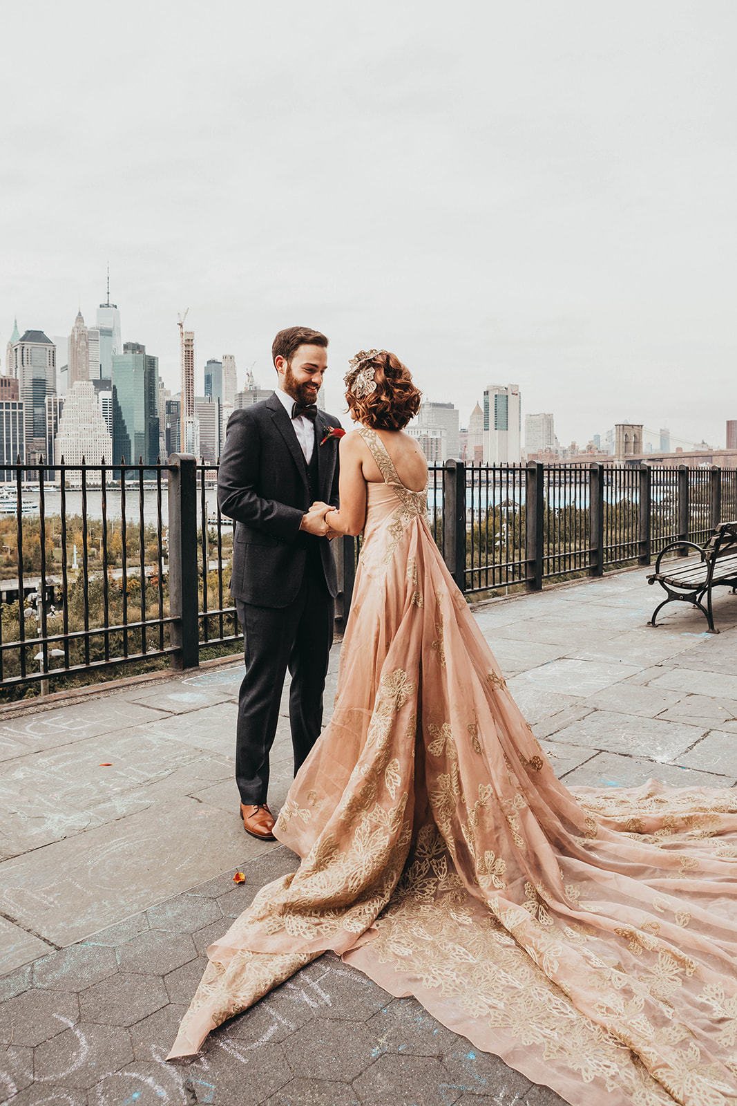 Blush, rose, gold wedding gown with butterflies, victorian bridal trend, nyc wedding gown designer73.jpg