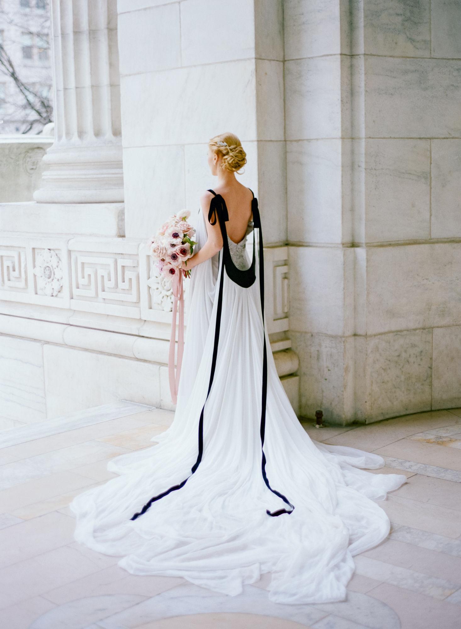 Soft flowy wedding gown black details10.JPG