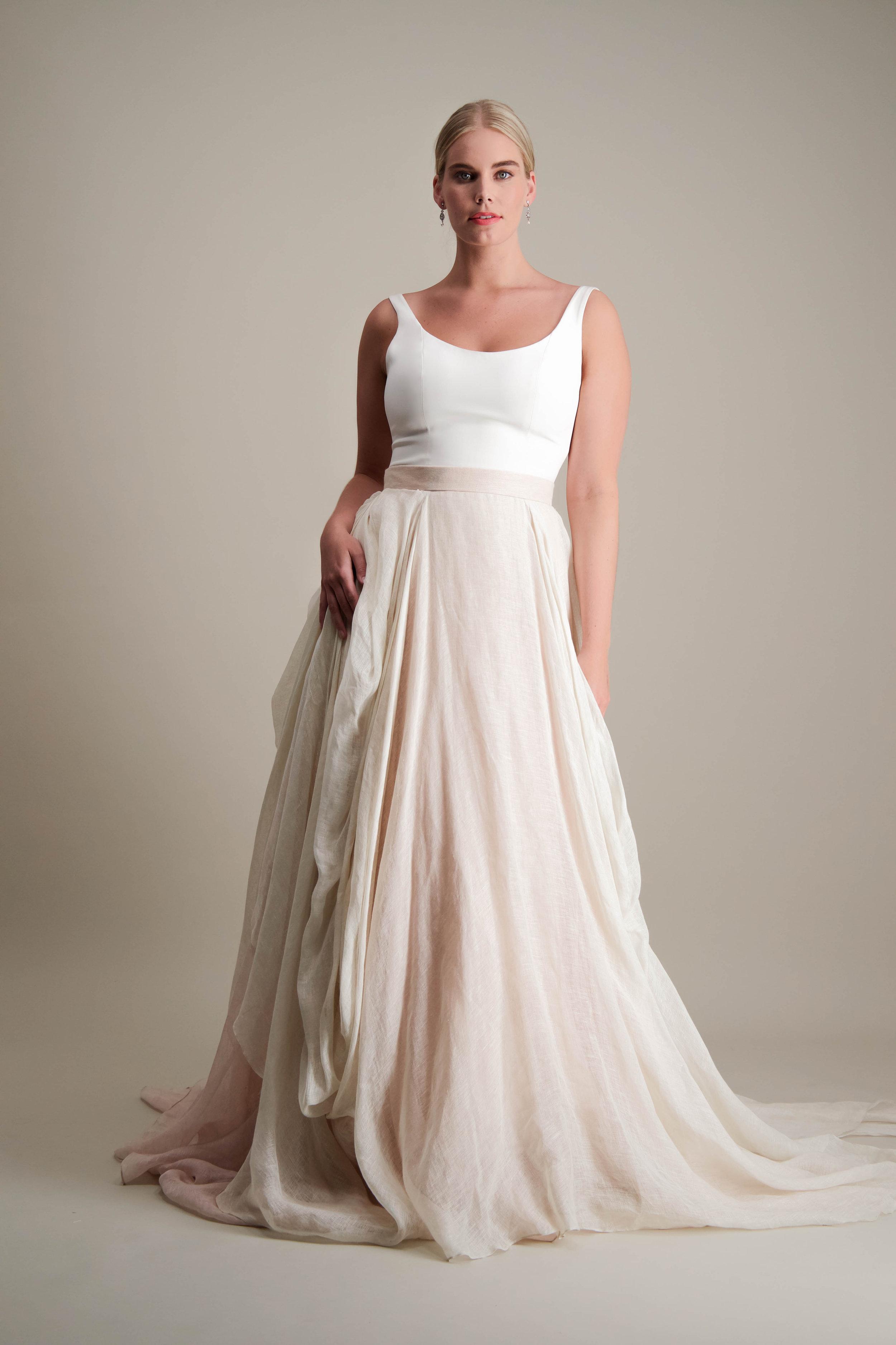 Kensington Skirt draped linen ball gown with scoop neck tank bodice 1.jpg