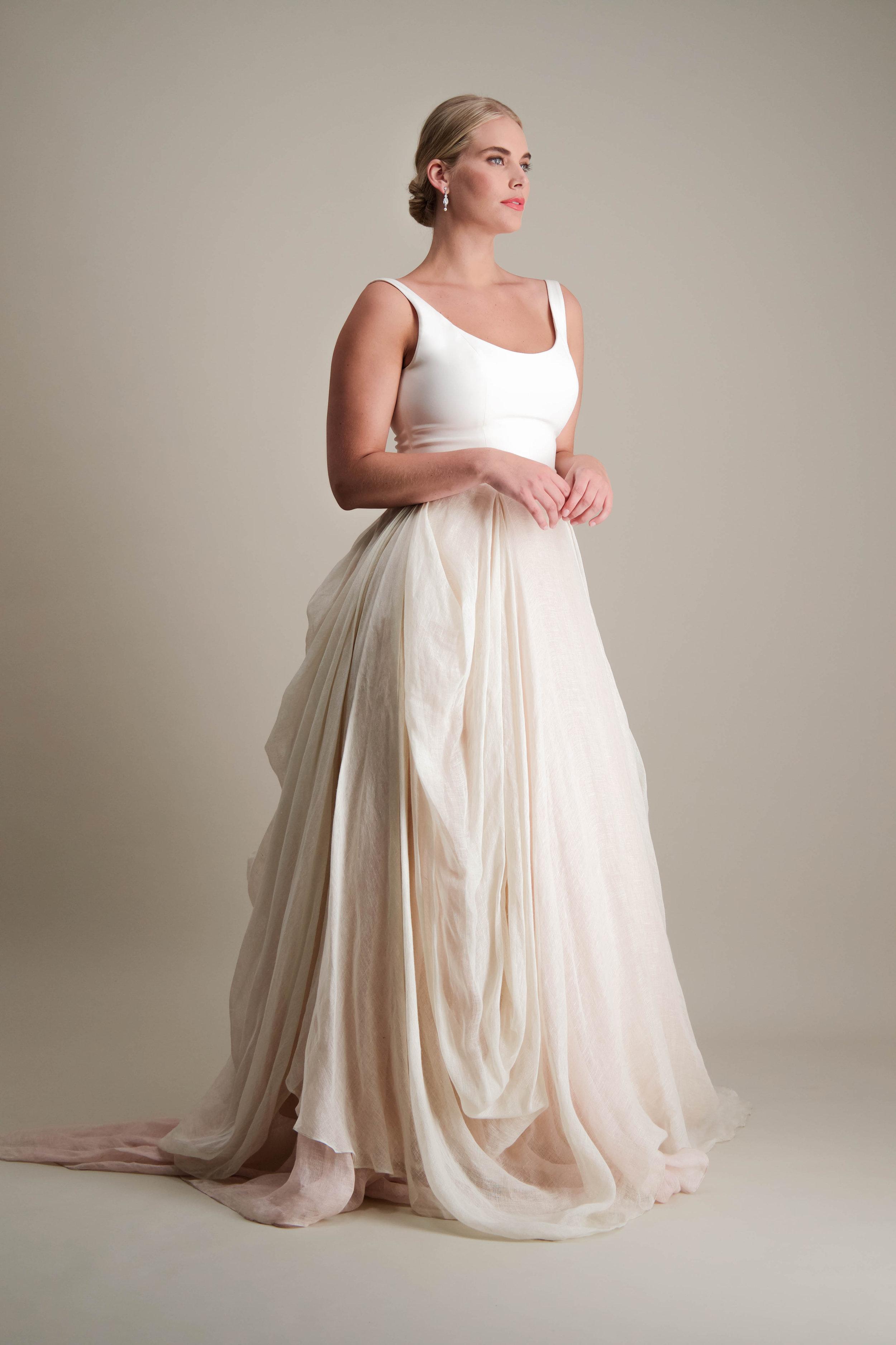 Kensington Skirt draped linen ball gown with scoop neck tank bodice 2.jpg