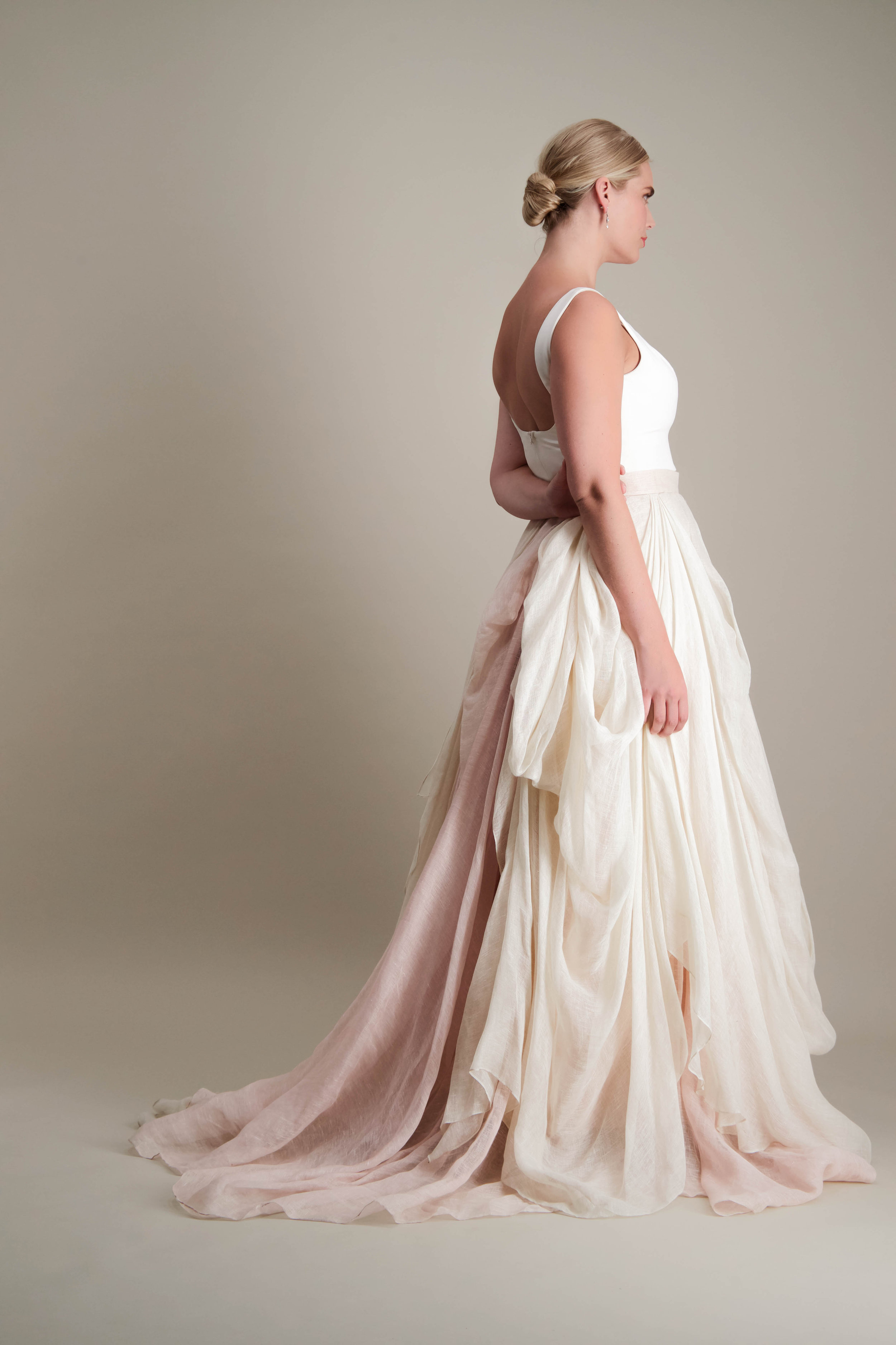 Kensington Skirt draped linen ball gown with scoop neck tank bodice 3.jpg