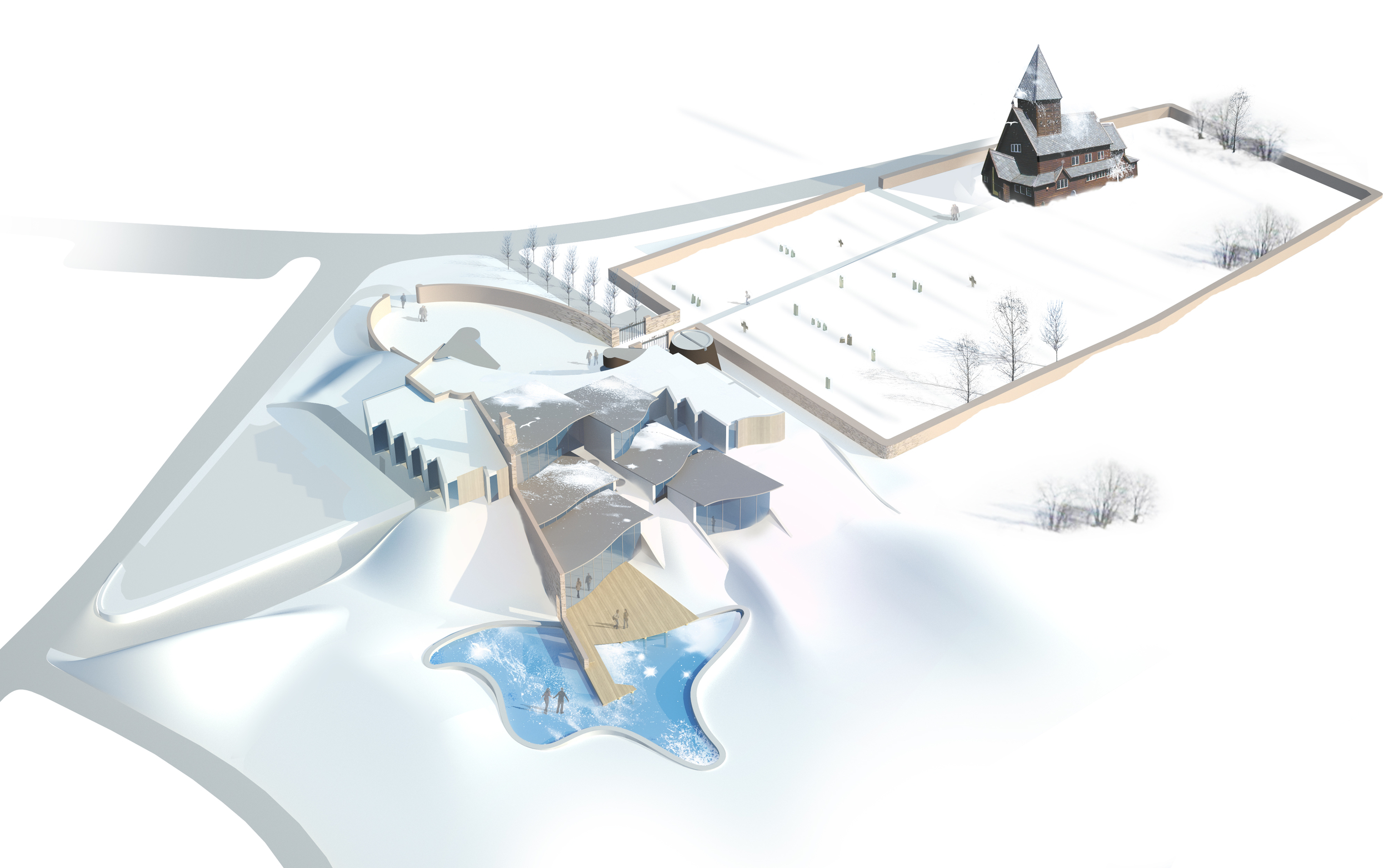 Isometric view of pilgrimage centre with Roldal stave church