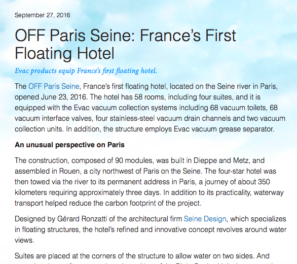 OFF PARIS SEINE: FRANCE'S FIRST FLOATING HOTEL