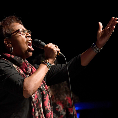 Edna Robinson - MTM Board Member - VocalsA Gospel artist who has released 2 solo CDs, Miss Edna has also performed with John Tesh, Phillip Bailey, King Baptist Mass Choir, and Landmark Ministries, and is uninhibited in giving unfettered praise, having grown up in a southern church and large family of singers. She has also sung with MTM on both US Coasts and in Dubai and Israel. Edna loves southern food, singing in Spanish, and Country / Western music (Southern roots) – and her wonderful, kindhearted husband of 36 years and their son. Her favorite music comes from Smokey Robinson, Carole King, and Ella Fitzgerald.