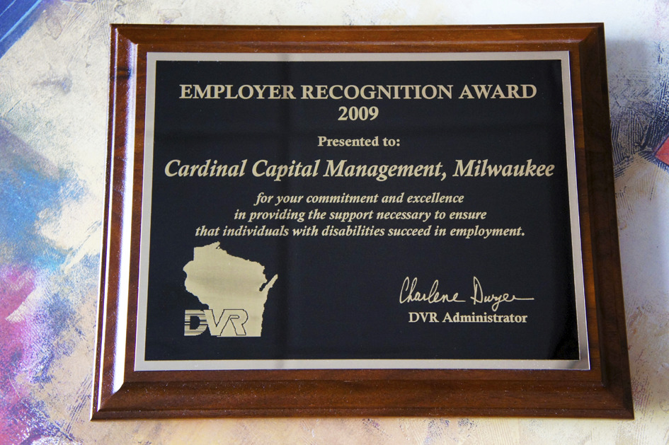 2009 State of WI Division of Vocation Rehabilitation Employer Award