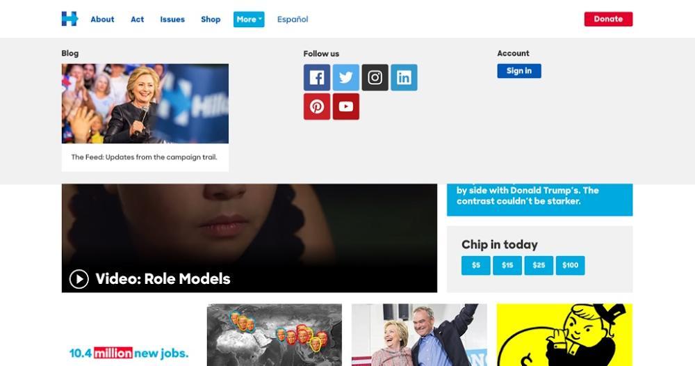 hillary clinton website menu expanded