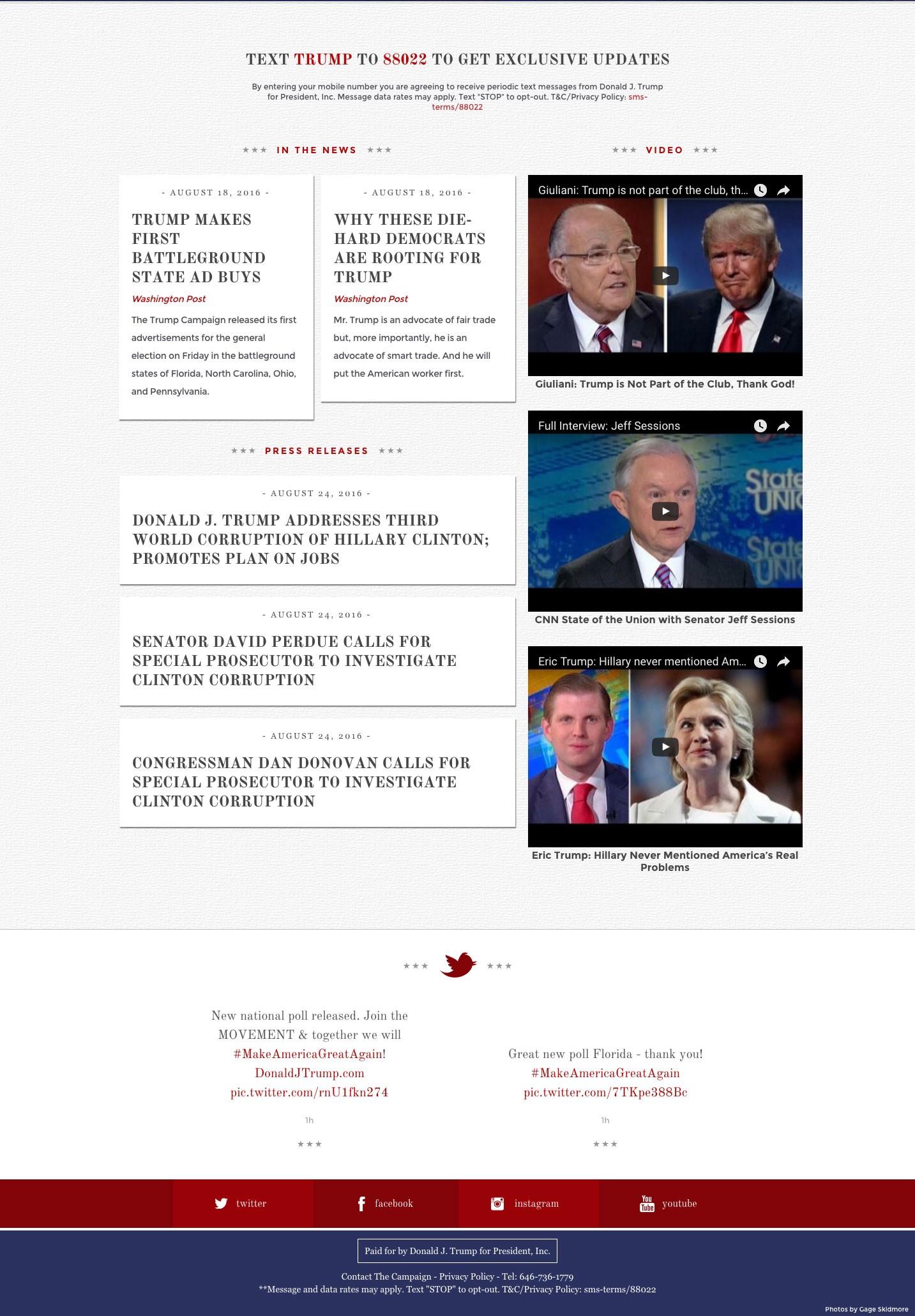 below the fold trump website