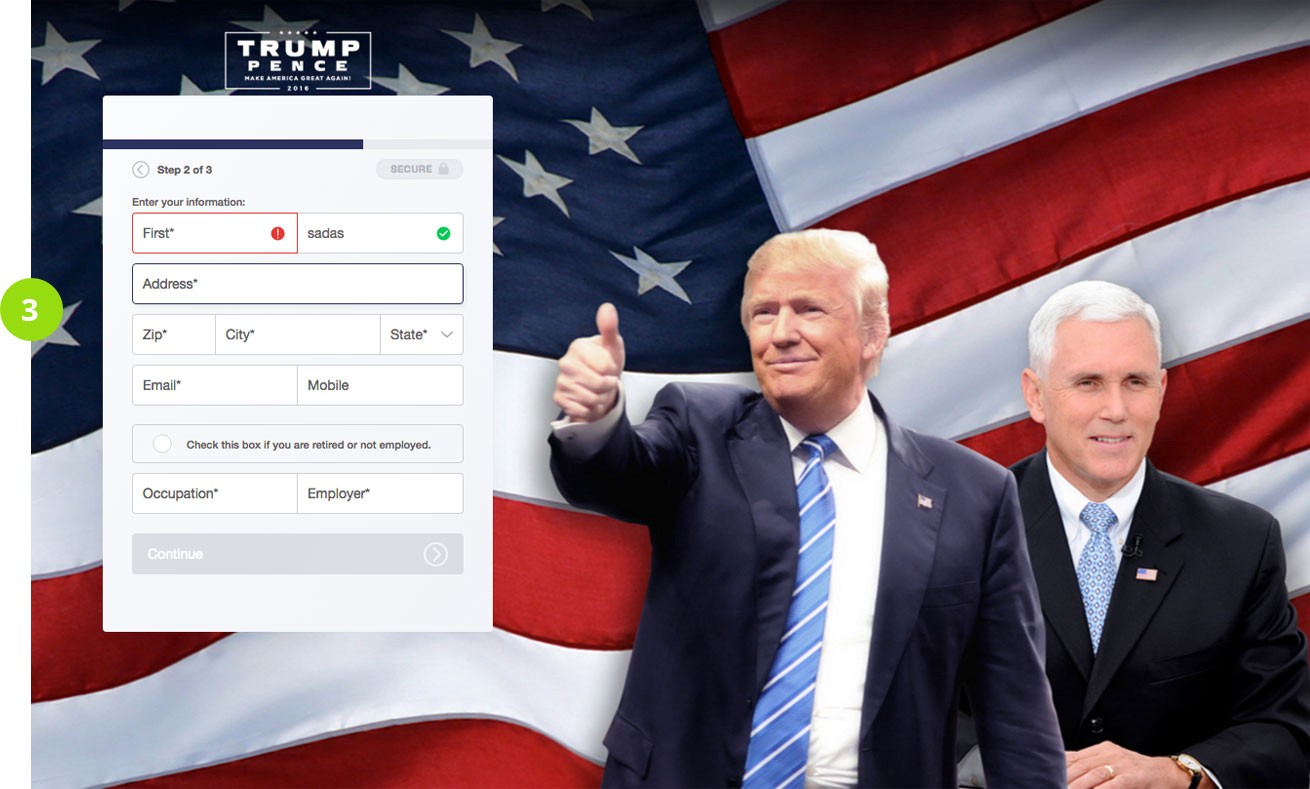 donald trump inline messaging
