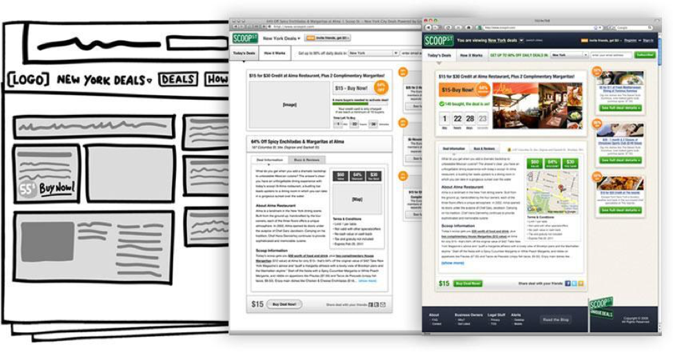 The two documents on the right are produced by the UXD. The last image is created by the Visual Designer. Note that not only has color been added, but that some elements in the wireframes are arranged differently in the final visual design. Visual provided by  Jess Eddy .