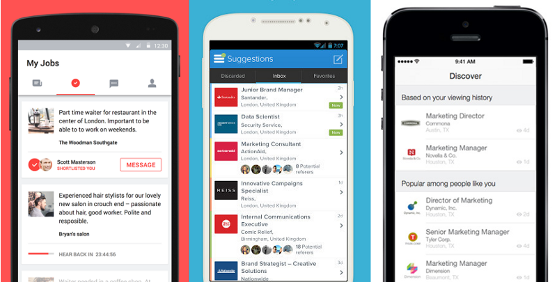 Example of current job search apps.