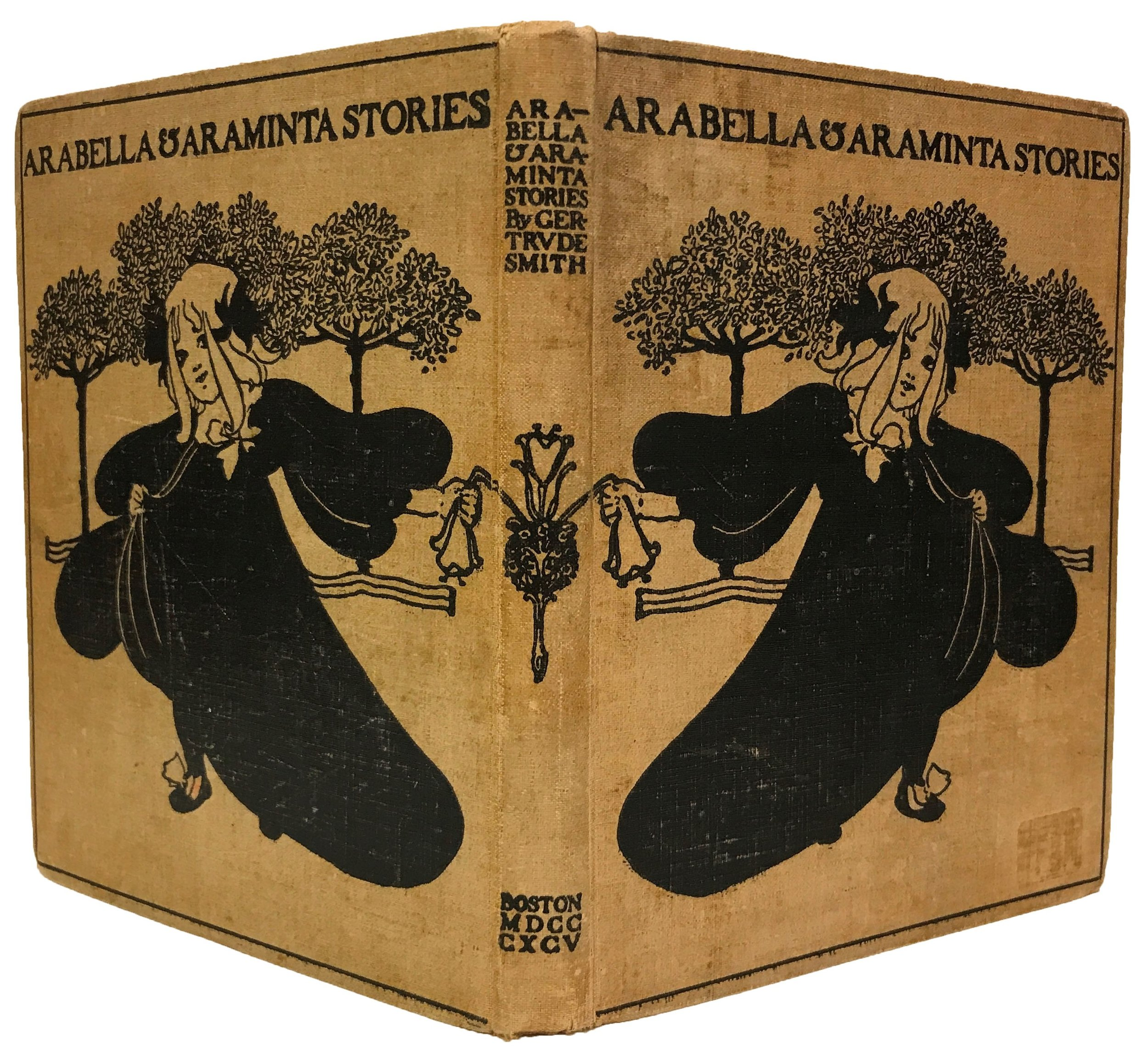 """Fun and charming cover for a book about twin girls - Smith, Gertrude, """"Arabella and Araminta Stories,""""Helen Farr Sloan Library & Archives Online Exhibitions, accessed July 9, 2017,https://delartlibrary.omeka.net/items/show/93.Thank you for exhibiting the book opened!"""