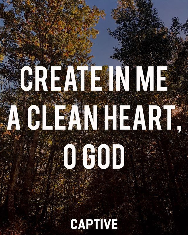 """Create in me a clean heart, O God, and renew a right spirit within me."" ‭‭Psalms‬ ‭51:10‬ • • Psalm 51 is a psalm of David that was written after his affair with Bathsheba and after he murdered her husband Uriah. It is easy for us to be prideful and think we would never make mistakes like those, but if we humble ourselves like David finally did when he wrote this, we can see that this psalm of repentance is one that every believer relates with. We are hopeless without the mercy and forgiveness of God. ▪️ May we all see our need for true repentance and humble ourselves before God. Praise Him for his grace and mercy, and for his faithfulness to forgive us. #imcaptive • • #scriptures #bibletime #dailybibleverse #bibleverses #wordofgod #psalms #faithquotes #faithposts #jesuscopy #dailydevotions #devotionals #dailydevos #christfollowers #believers #biblestudynotes #faithblog #faithbloggers #studytheword #biblicaltruth #thegospel #gospelcentered #truthpost #repentance #lifestylebrands #lifestylebrand #christianinspiration #christianbloggers"