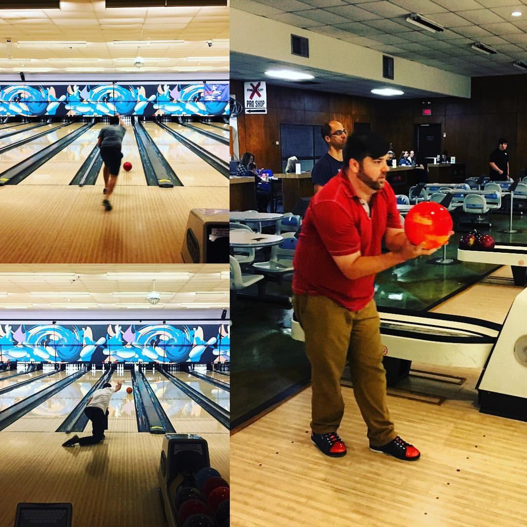 Jon bowling with his Austin office team